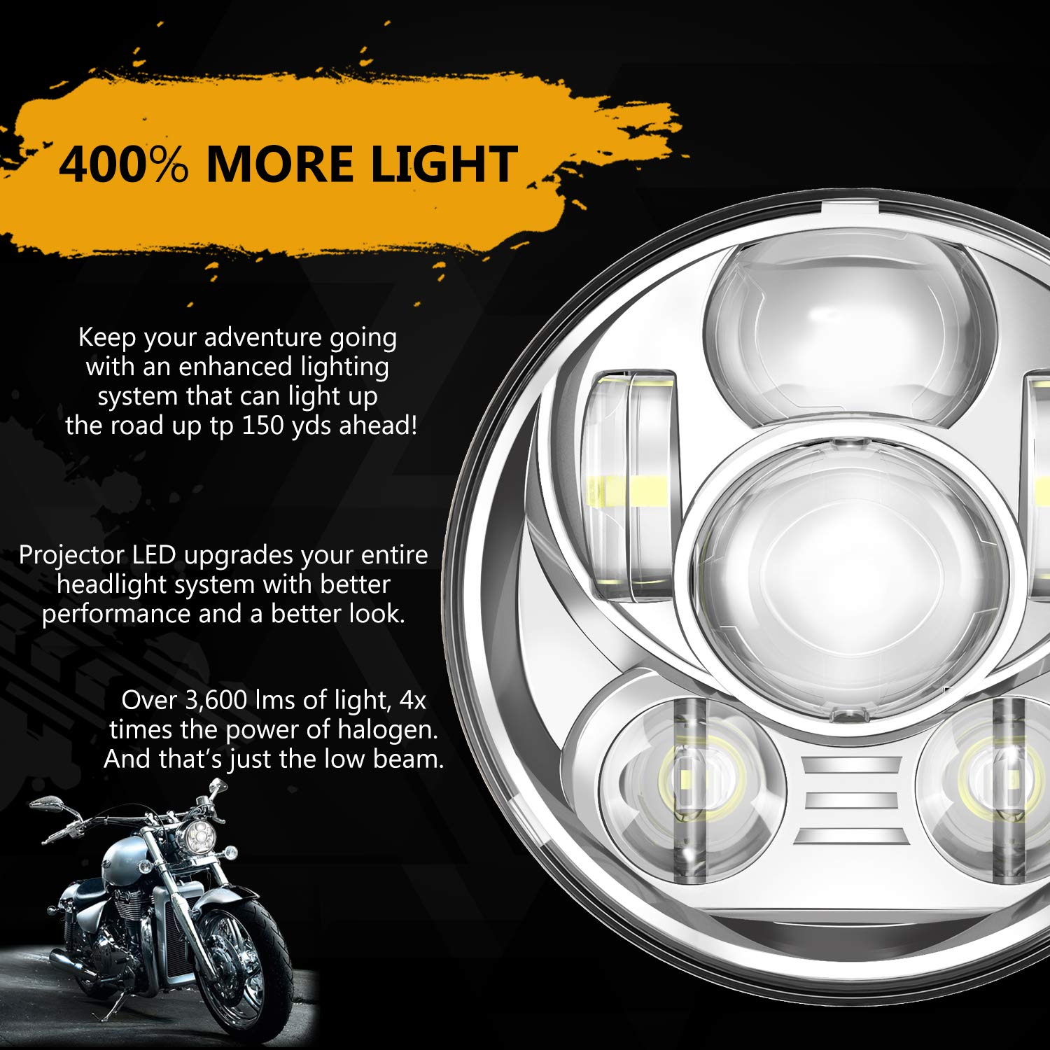 5-3//4 5.75 Inch Motorcycle Daymaker Projector LED Headlight for Harley Davidson Sportster Triumph xl1200c dyna low rider wide glide roadster nightster 883