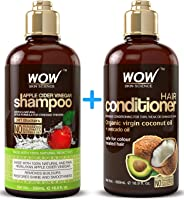 WOW Apple Cider Vinegar Shampoo & Hair Conditioner Set - (2 x 16.9 Fl Oz / 500mL) - Increase Gloss, Hydration, Shine -...