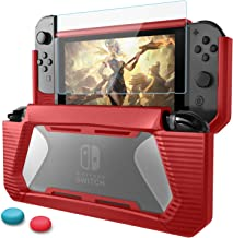 AISITIN Compatible Nintendo Switch Case with Screen Protector, TPU Protective Heavy Duty Cover Case for Nintendo Switch with Shock-Absorption and Anti-Scratch (Red)