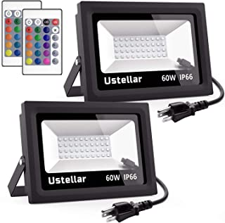 Ustellar 2 Pack 60W RGB LED Flood Lights, Outdoor Color Changing Floodlight with Remote Control, IP66 Waterproof 16 Colors 4 Modes Dimmable Wall Washer Light, Stage Lighting with US 3-Plug