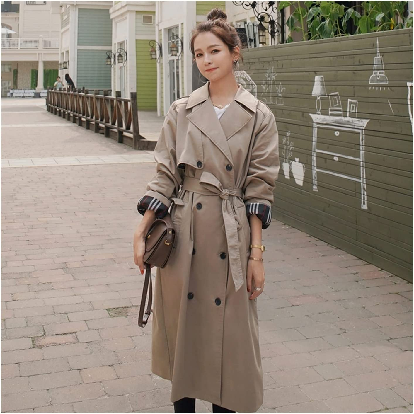 ZLDGYG Double-Breasted Long Women Trench Coat Office Lady Duster