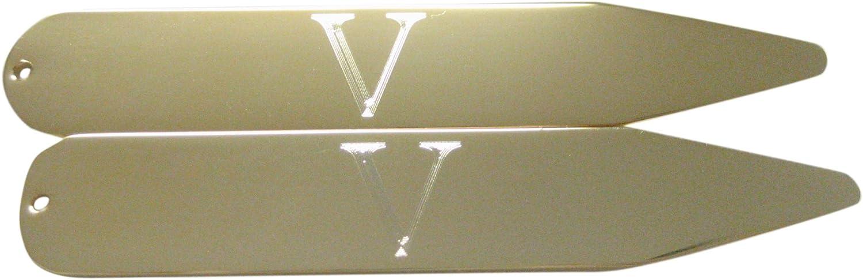 Gold Toned Etched Letter V Monogram Collar Stays