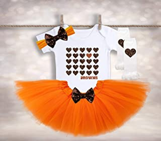 Baby Girl Browns Outfit - Girls Football Outfit - Tutu Baby Outfit - Cleveland Browns Baby - Browns Fan Shirt - NFL Baby Tutu