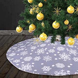 Yashell Christmas Tree Skirt,48 Inches Tree Skirt Double Layers Grey and White Snow Carpet for Christmas Decorations, Xmas Ornaments