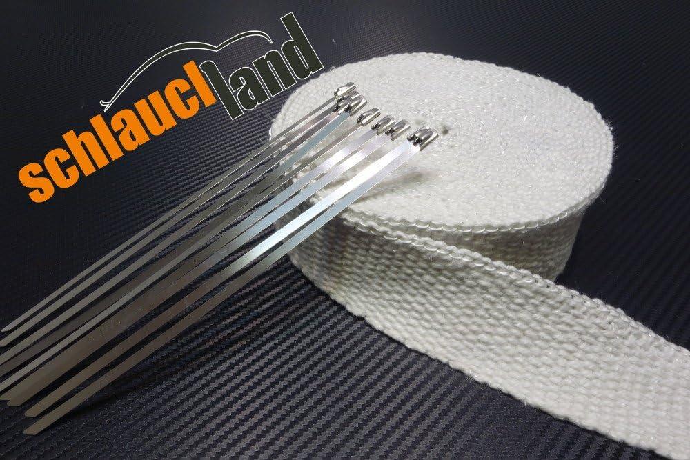 Schwarz Hitzeschutzband 30M Auspuffband mit Kabelbinder