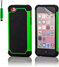 32nd ShockProof Series - Dual-Layer Shock and Kids Proof Case Cover for Apple iPhone 5, 5S & SE, Heavy Duty Defender Style Case - Green