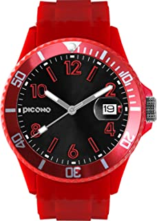 PICONO Red Time and Date Water Resistant Analog Quartz Watch - No. 04
