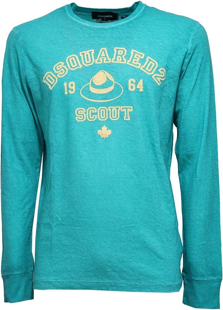 Dsquared2,maglia per uomo vintage,green water cotton slub,felpa,taglia l S74GD0372 554