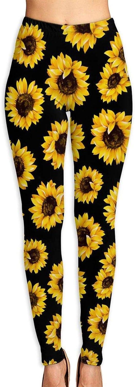 SUMSUNSHINE Women's Sunflower Seed Sun Printed Yoga Pants Workout Capris Lightweight Yoga Leggings