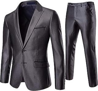 AOWOFS Men's Double Button Suit Lapel Fashion Lattice Slim 2 Piece Suit Jacket Pants