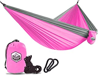 Greenlight Outdoor Double & Single Camping Hammock - Portable Lightweight Parachute Hammock for Backpacking, Hiking, Travel, Beach, Yard - Steel Carabiners and Nylon Ropes Included, 55
