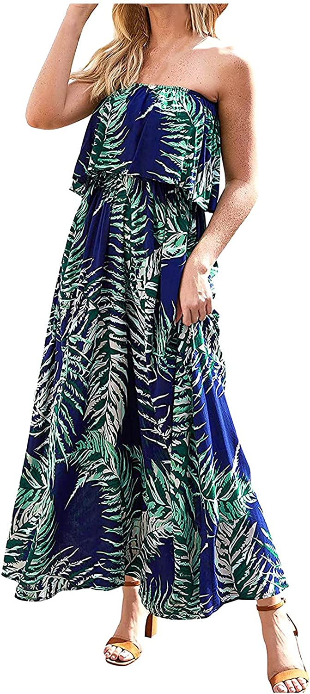Women Off Shoulder Sexy Tube Top Dress Ruffle Strapless Boho Maxi Long Dress
