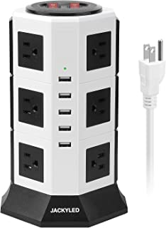 Surge Protector Power Strip Tower JACKYLED 12 AC Outlets 3000W 15A and 5 USB 8A Desktop Smart Universal Charging Station Multiple Protection Heavy Duty 6.5ft 14 AWG Extension Cord White and Black