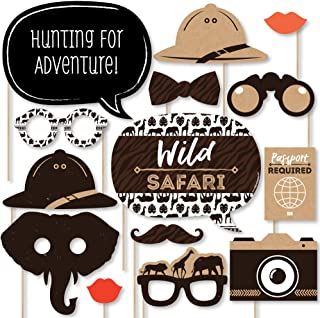Big Dot of Happiness Wild Safari - African Jungle Adventure Birthday Party or Baby Shower Photo Booth Props Kit - 20 Count