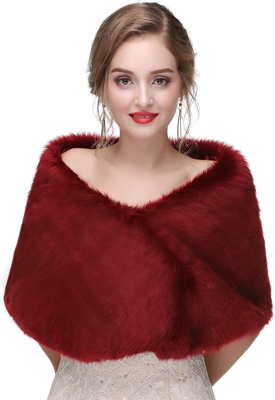 BessWedding Winter Faux Fur Wedding Shrug Rex Rabbit Bridal Shawl Warm Wrap