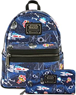 Loungefly Star Wars Chibi Ships Mini Backpack and Wallet Set (Multi)