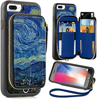 ZVE Wallet Case for Apple iPhone 8 Plus and iPhone 7 Plus, 5.5 inch, Zipper Wallet Case with Credit Card Holder Slot Handbag Purse Case for Apple iPhone 8/7 Plus 5.7 inch - Van Gogh Star