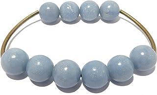 Angelite Bracelet Boutique Curved Antiqued Brass Bead Genuine Glacier Blue Gemstone Unique Crystal Healing B04