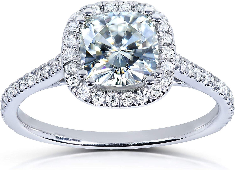 Kobelli Moissanite and Lab Grown Diamond Halo Engagement Ring 1 1/3 CTW 14k White Gold (GH/VS, DEF/VS)