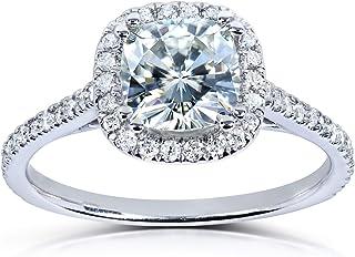 Moissanite and Lab Grown Diamond Halo Engagement Ring 1 1/3 CTW 14k White Gold (HI/VS, DEF/VS)