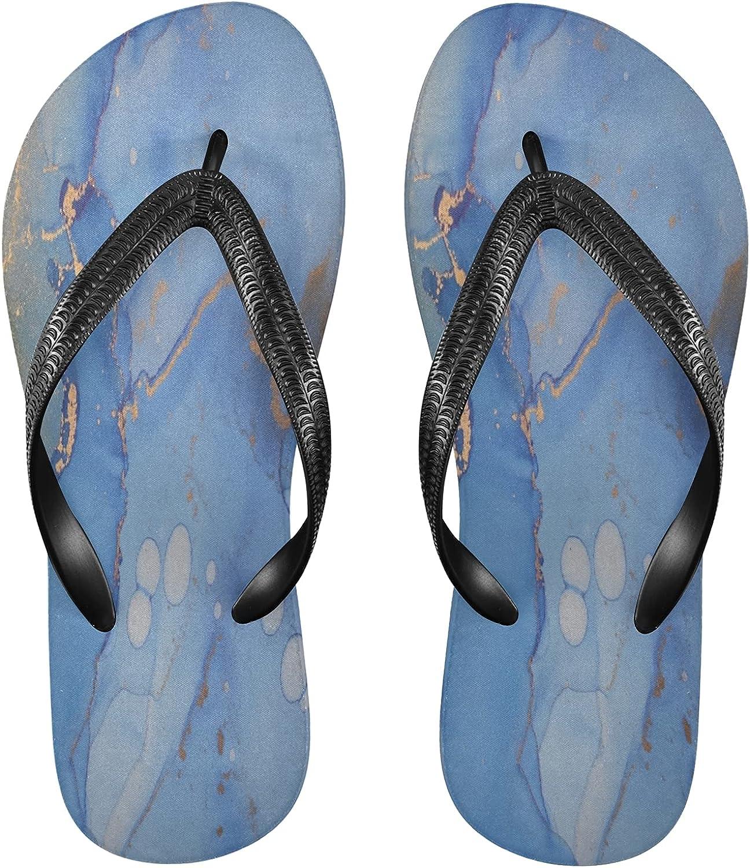 Nander Blue Abstract Marble Women's Sandal Flip Flops Soft Comfortable Beach Slippers Unisex Adult Durable Flip Flops Shower Shoes
