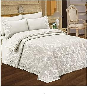 Pharpar ESINTI 100% Cotton Premium Elegant Bedding Set, 7-Piece Pique Bedspread Coverlet Set and Duvet Cover - Beril