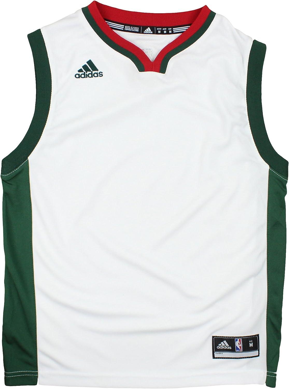 adidas Milwaukee Bucks NBA Youth Big Boys Blank Home Replica Jersey - White