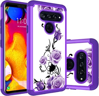 LG V40 Thinq Case, LG V40 Case, Yuanming Hybrid Dual Layer TPU & Hard Back Cover Bumper Protective Shock-Absorption & Skid-Proof Anti-Scratch Hybrid Case for LG V40 Thinq/LG V40 (Purple)