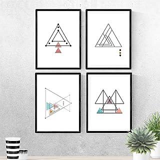 Set de 4 cartel à encadrer TRAZO FINO. Affiches de style nordique avec des triangles pour la décoration de la maison. Impr...