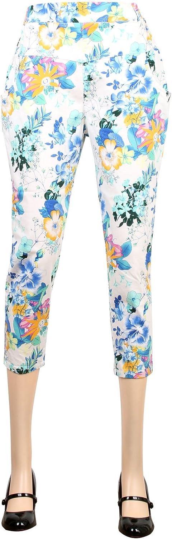 Ililily Floral Pattern Elastic Waist Capri Trouser Baggy Style Summer Crop Pants