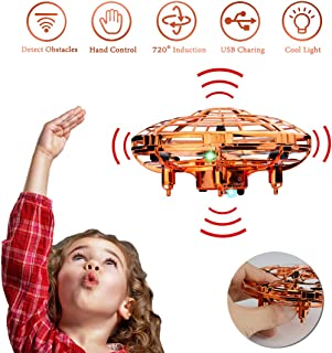 WEW Flying Toy Drones for Kids Gifts, Hand Free Mini Drone Helicopter, 6 Magical Sensors Levitation UFO Drone Gift Toys for Boys and Girls - Gold