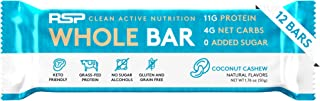 RSP Whole Bar - Low Carb Keto Protein Bar + Quality Fats, 10g Grass Fed Protein, 4g Net Carbs, 19g Fat, Zero Added Sugar, Perfect Keto Snack, Gluten Free, 12 Pack (Coconut Cashew)