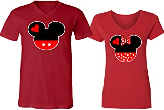 Mickey Minnie Mouse Head Family Couple V-Neck Shirt for Men Women