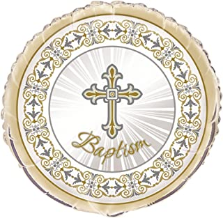 """Unique Radiant Cross Gold and Silver Baptism Foil Balloon, Multi, 45cm (18"""")"""