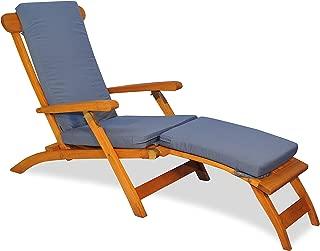 Teak Steamer Chair with Cushion (Canvas Saphire Blue)