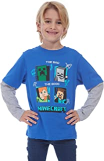 Minecraft Boys Long Sleeve Good and Bad Character Box Tee