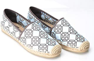 e3ad4b482 Tory Burch Cadet Blue 4t Espadrille Printed Canvas Veg Leather Flats