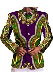 Aooword Mens Folk Style African Print Dashiki Pullover Crew-Neck Tops
