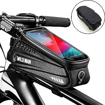 Faireach Rahmentasche Fahrrad mit Handyhalterung, Oberrohrtasche Fahrrad Handy Halterung Wasserdicht mit Fenster für Touchscreen, für iPhone Samsung Smartphone bis zu 6,5 Zoll