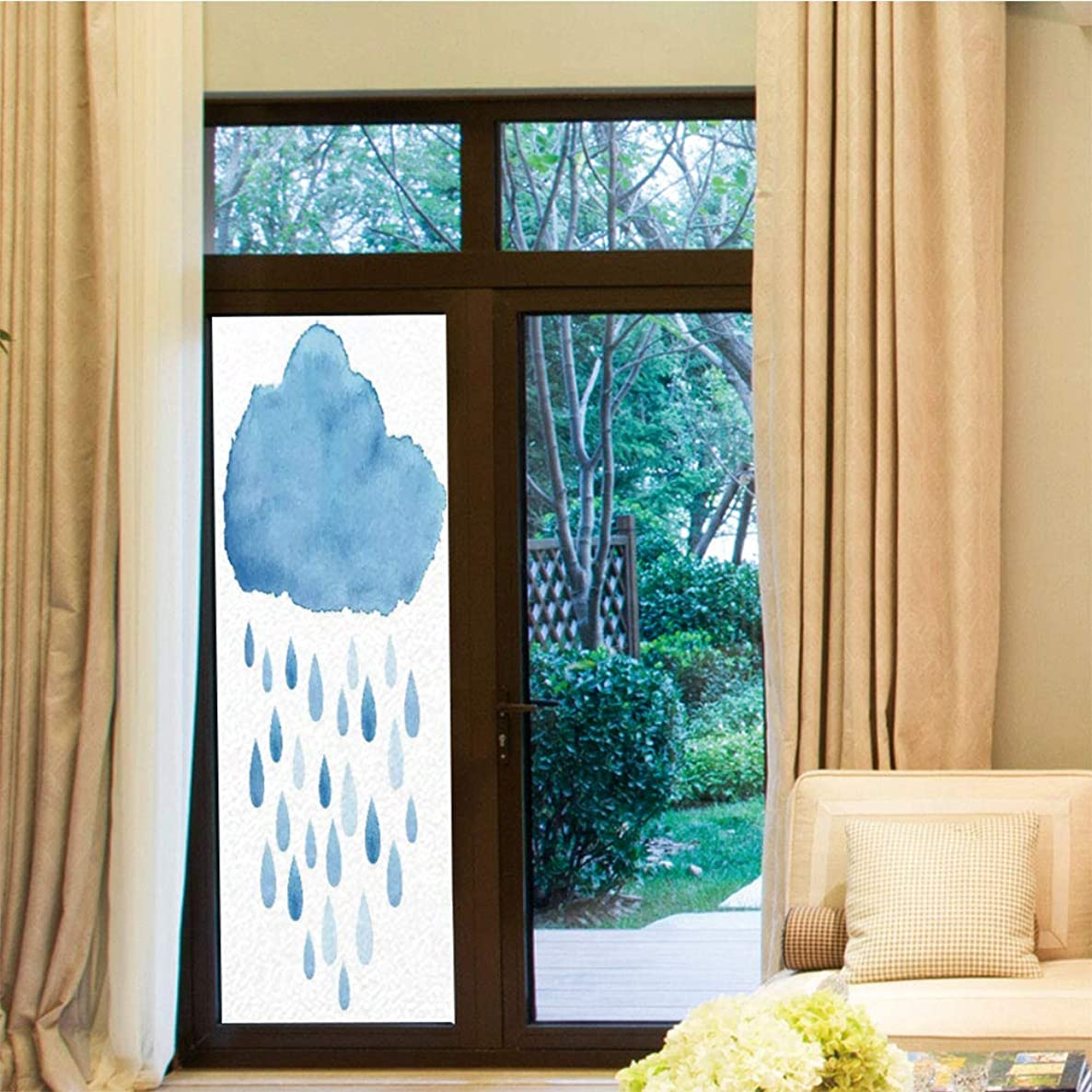 YOLIYANA Privacy Window Film,Apartment Decor,for Home Office School,Illustration of Rain Drops and Cloud in Watercolor,24''x70''