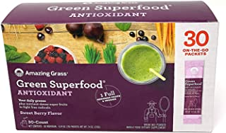 Amazing Grass Green Superfood Antioxidant Sweet Berry Flavor .Natural Energy;Promotes Detox;Helps Alkalize;Aids Digestion;Supports Immunity;Gluten Free;No Sugar Added;Plant Based;Non GMO.30 Packets