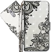 Nokia 6 (2017) Wallet Case, Nokia 6 Premium PU Leather Case, COTDINFORCA 3D Creative Painted Effect Design Full-Body Protective Cover for Nokia 6 2017-5.5 inch. PU- Lace Flower