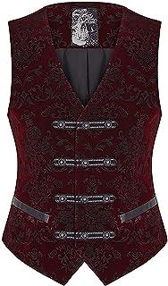 Punk Rave Mens Vest Waistcoat Red Damask Velvet Gothic Steampunk Aristocrat VTG