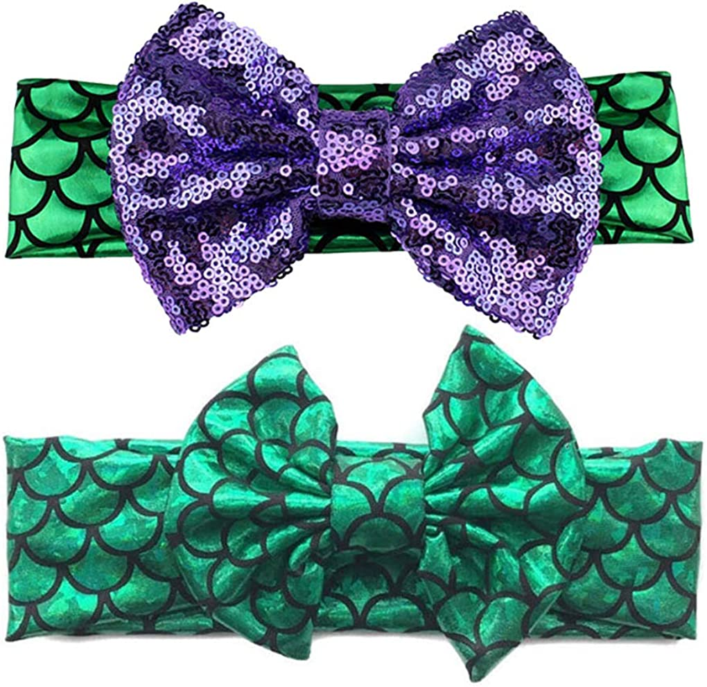 Baby Starfish Mermaid Headbands with Flower Hairband Girls Hair Accessories JB321 (2 Pcs-Set F)