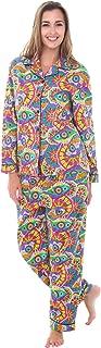Women's Warm Flannel Pajama Set, Long Novelty Button Down Cotton Pjs