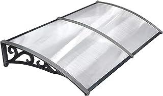 MVPOWER Marquesina para Puertas y Ventanas Tejadillo de Protección Toldo Cubierta de Policarbonato en Jardín al Aire Libre Dosel de Techo (190 * 98.5cm, negro)