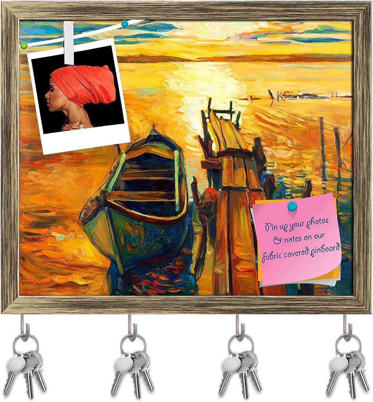 Artzfolio Artwork of Boat & Jetty D4 Key Holder Hooks   Notice Pin Board   Antique golden Frame 19.1 X 16Inch