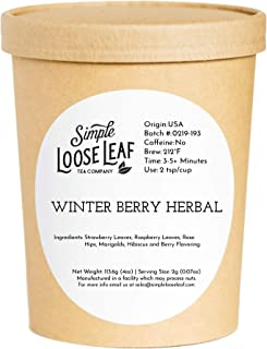 Simple Loose Leaf - Winter Berry Herbal Tea - Premium Loose Leaf Herbal Tea (4 oz) - Caffeine Free - Fruity Blend - USA Hand Packaged - 60 Cups