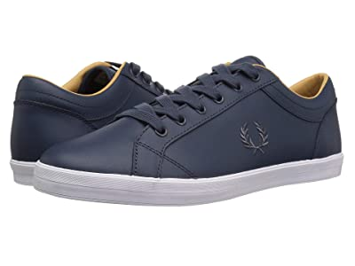 Fred Perry Baseline Leather (Dark Airforce/Charcoal) Men