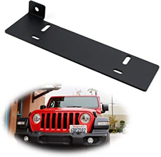 iJDMTOY No Drill Required Front License Plate Mounting Bracket Relocator For 2018-up Jeep Wrangler JL